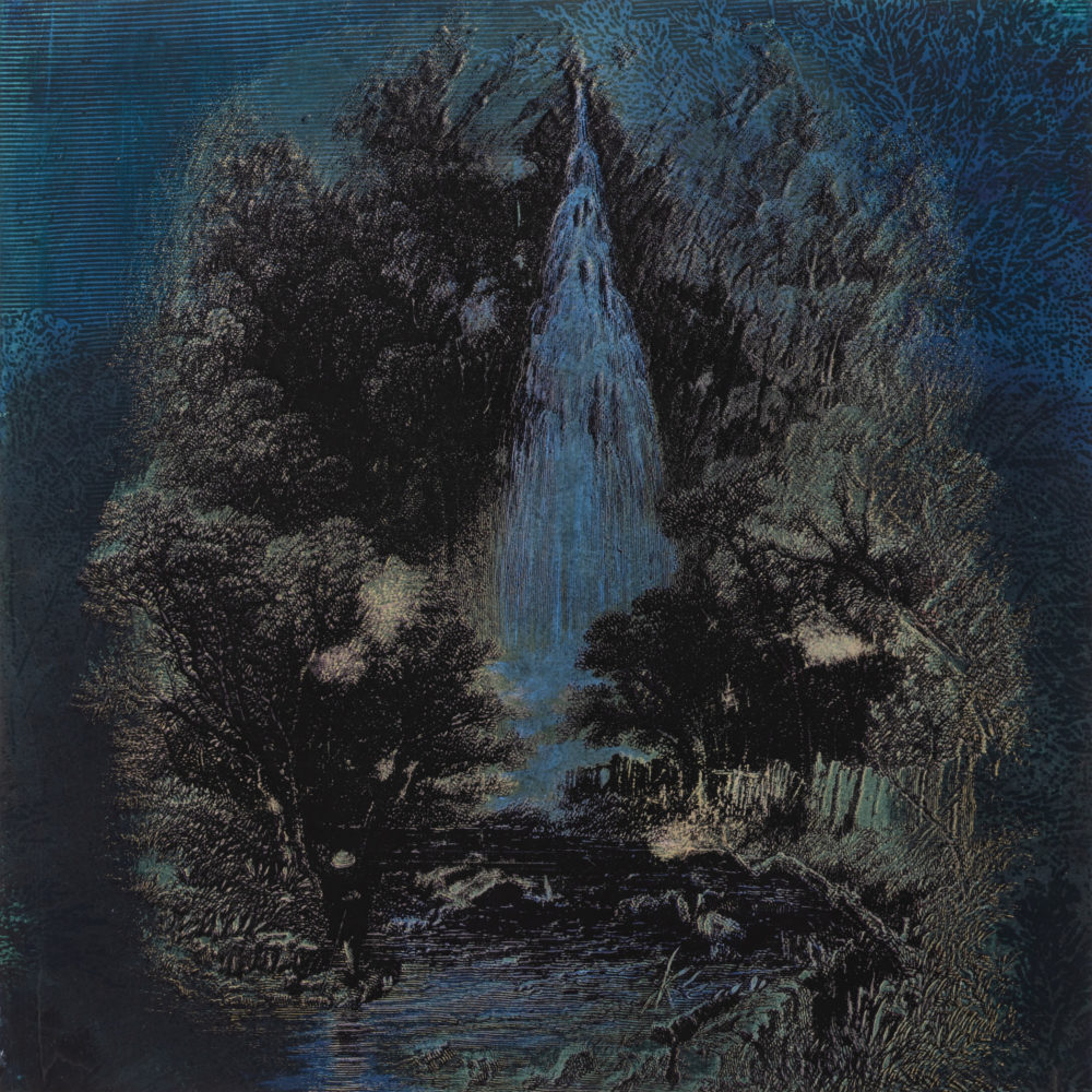 Rita Robillard - Falls III - 20 x 20, screenprint and painting on panel