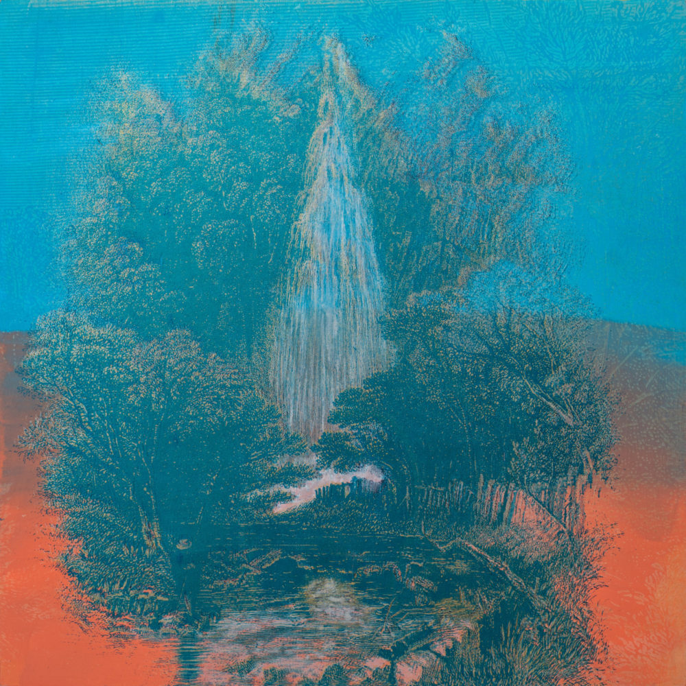 Rita Robillard - Falls II - 20 x 20, screenprint and painting on panel