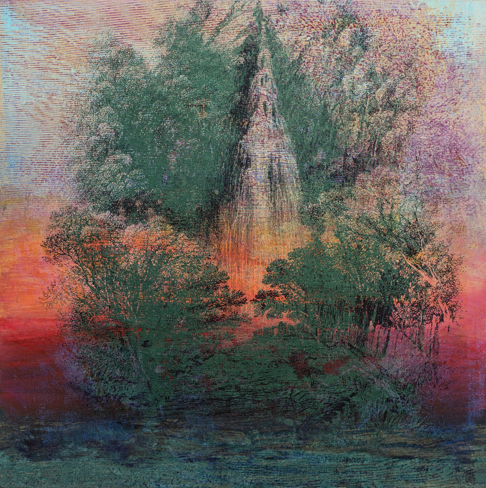 Rita Robillard - Falls I - 20 x 20, screenprint and painting on panel