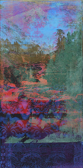 Rita Robillard - Gorge I - 48 x 24, screenprint and painting on panel