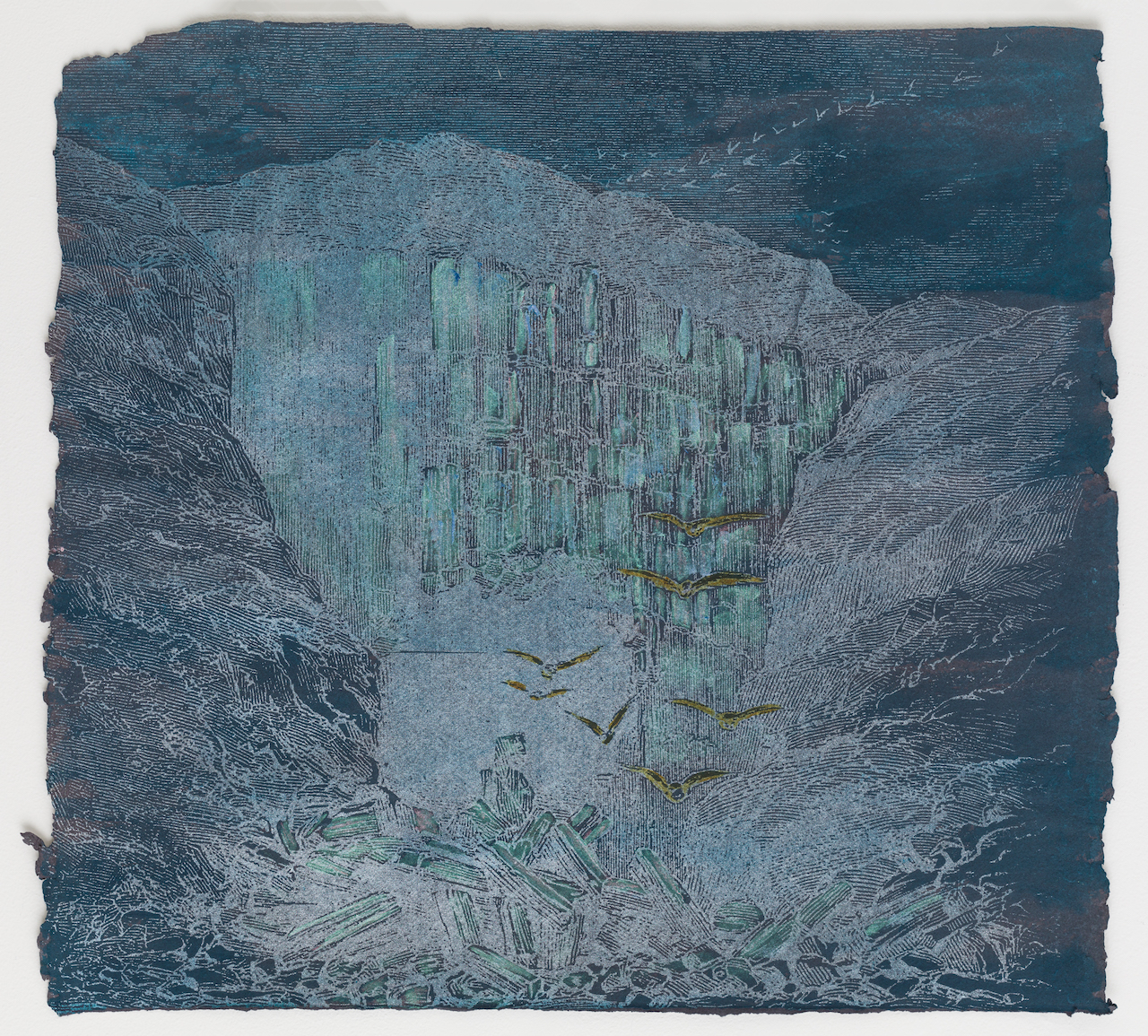 Rita Robillard - Icy Waters Variable Edition 2/5 - 20 x 20, Screen print and painting on paper