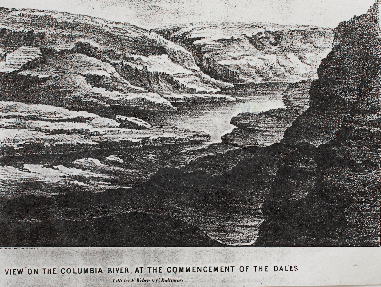 """Rita Robillard - 'The Gorge' 1860 Lith - Original 1860 Lith from Oregon Historical Society, the basis for """"The Gorge"""" screenprint"""